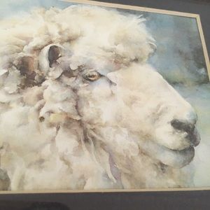 Vintage Fluffy Sheep Small Wood Framed Art